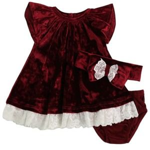 Velvet 3 piece dress set size 3 months